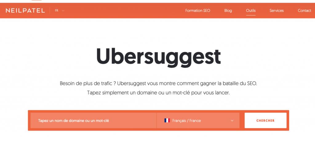 Uber suggest, un outils gratuit pour trouver des mots clés